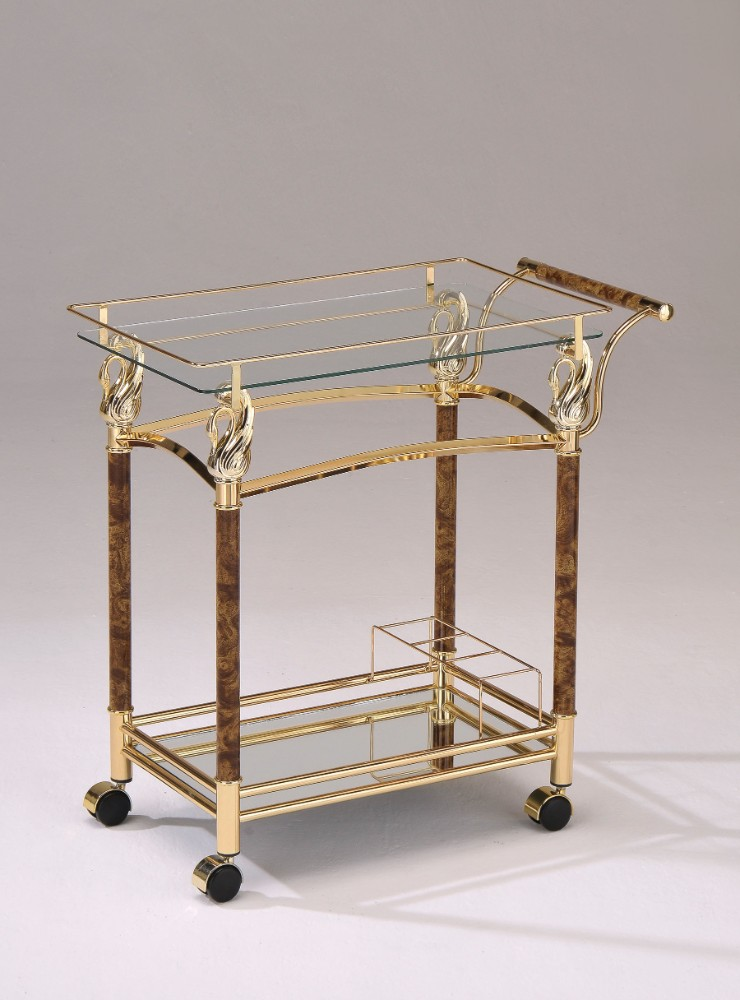 Alluring Serving Cart, Golden Plated & Clear Glass by Benzara