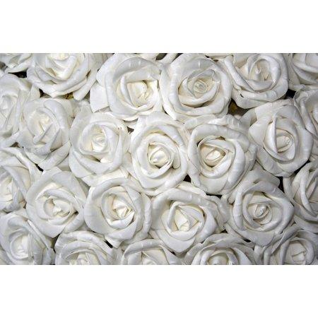 Canvas Print White Table Decoration Roses Floral Arrangement Stretched Canvas 10 x 14 ()