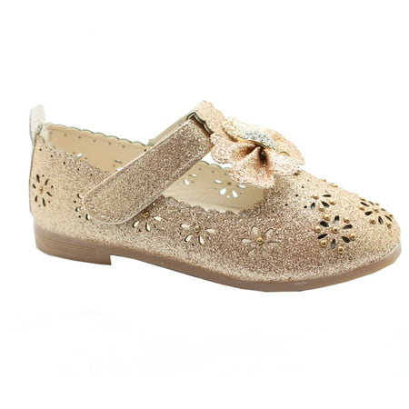 Kids Floral Doc Martens (Little Girls Gold Glitter Floral Cut-Outs Scallop Bow Dress Shoes 7)