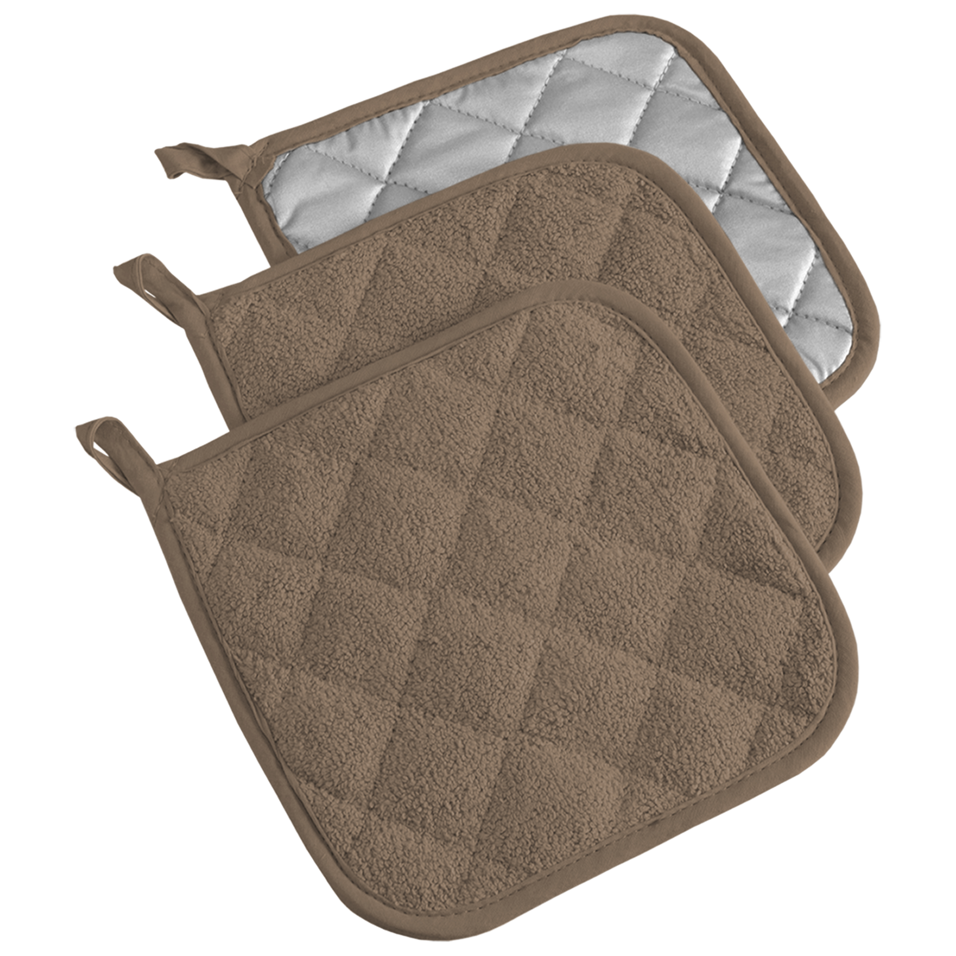 "Design Imports Terry Potholder Set of 3, 7"" x 7"", 100% Cotton, Multiple Colors Available"