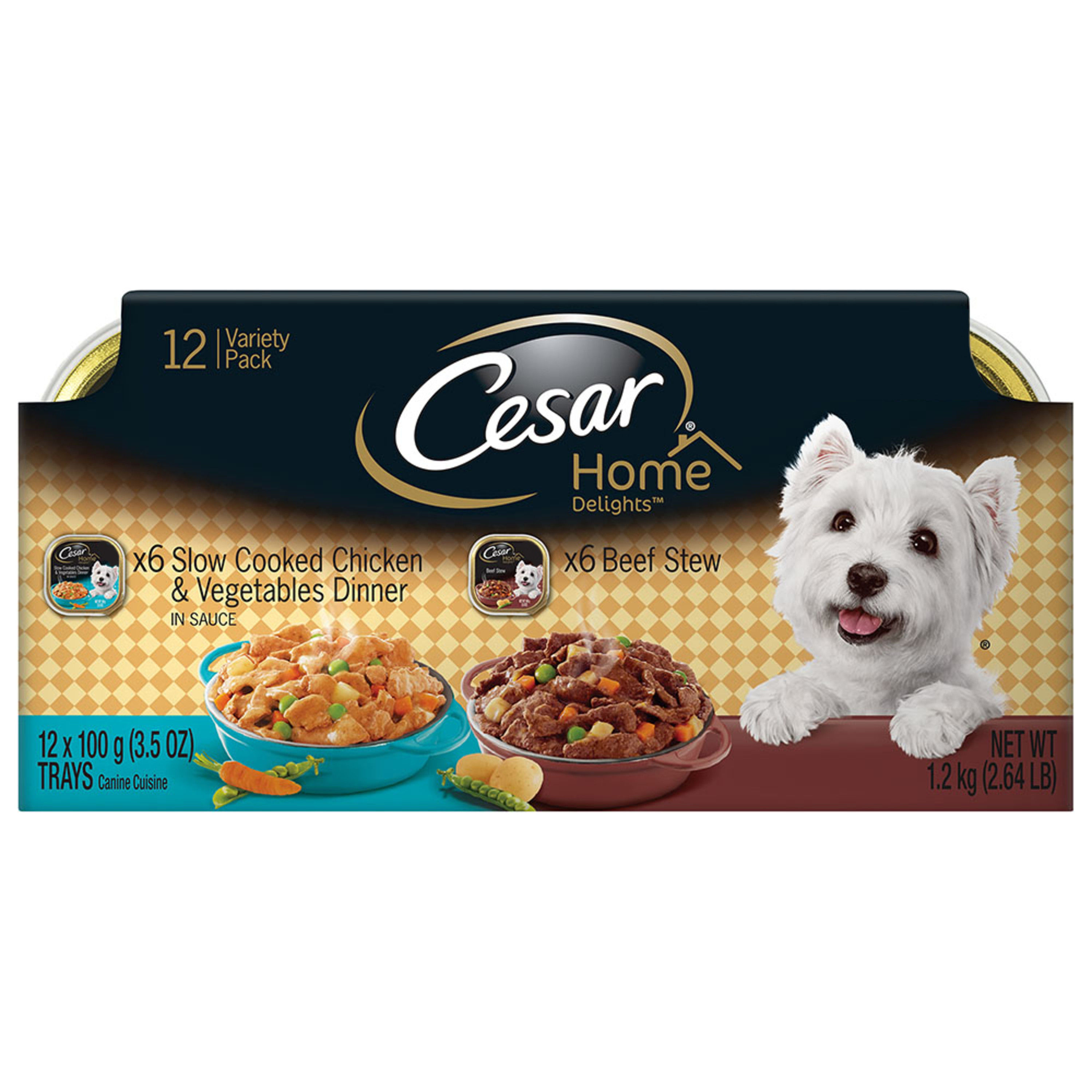 CESAR HOME DELIGHTS Wet Dog Food Chicken & Vegetables and Beef Stew Variety Pack, (12) 3.5 oz. Trays