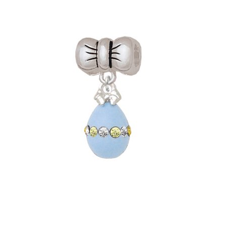 Easter Egg Bead - Light Blue Easter Egg with Multicolored Crystal Band - Bow Charm Bead