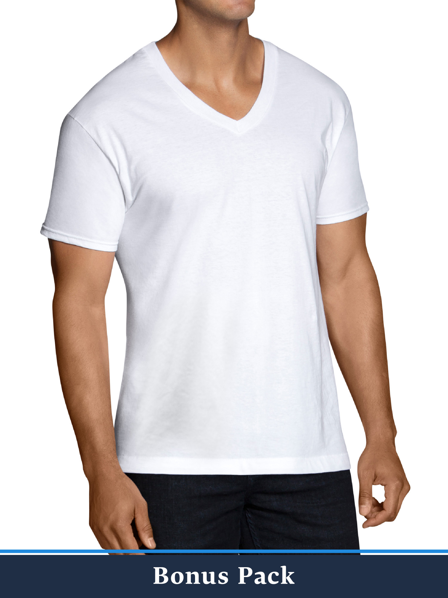 9337f798ea Fruit of the Loom Men's Dual Defense White V-Neck T-Shirts, 6+6 ...