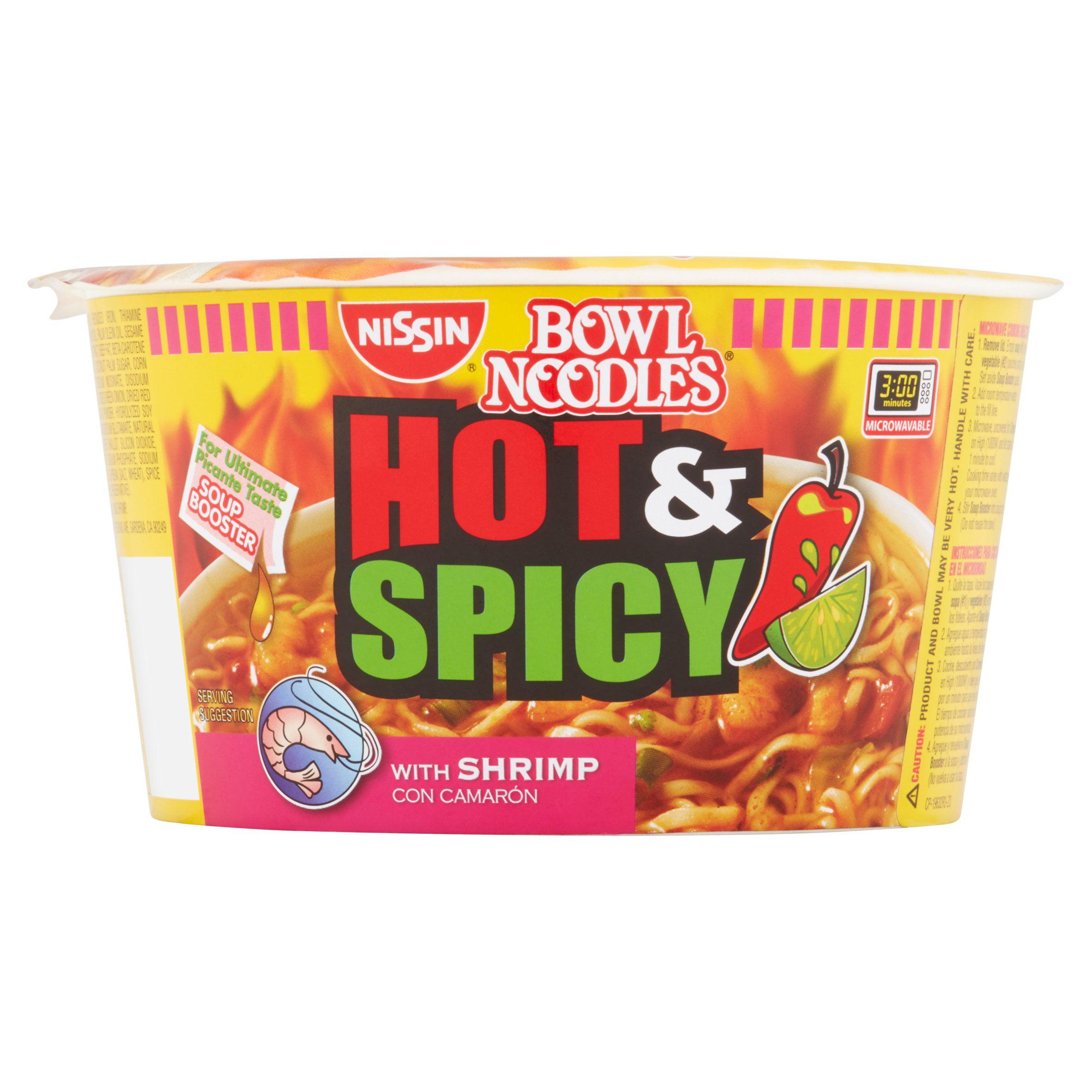 Bowl Noodles Hot & Spicy w Shrimp Ramen Noodle Soup, 3.32 oz by Nissin Foods (USA) Co., Inc.