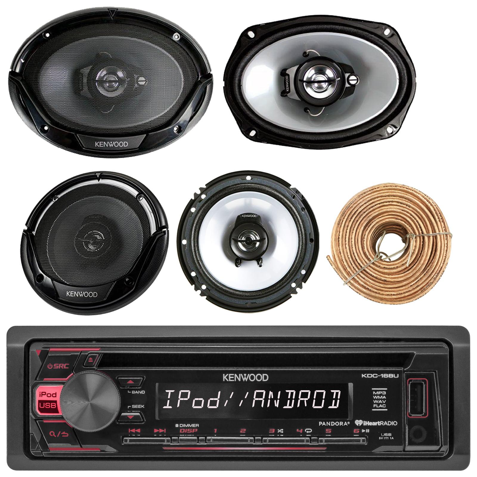 "Kenwood KDC168U Car CD Player Receiver USB AUX Radio - Bundle Combo With 2x Kenwood 6.5"" 2-Way Black Car Coaxial Speakers + 2x 6x9"" Inch 3-Way Speaker + Enrock 50 Foot 18g Wire"