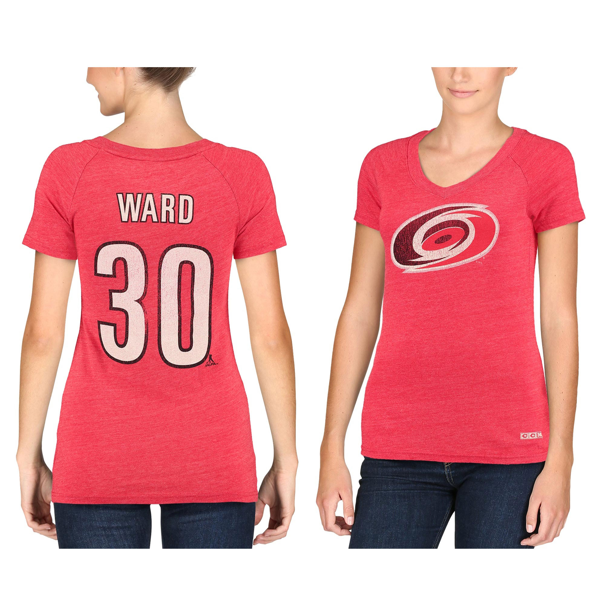 Women's CCM Cam Ward Carolina Hurricanes Name & Number Tri-Blend V-Neck T-Shirt - Red