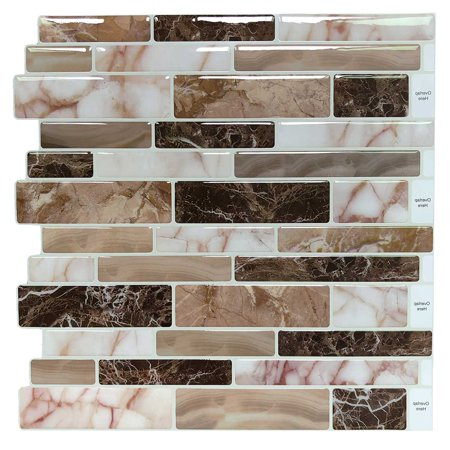 10 Sheets Peel and Stick Tile Backsplash for Kitchen in Marble (Best Way To Clean Marble Tile)