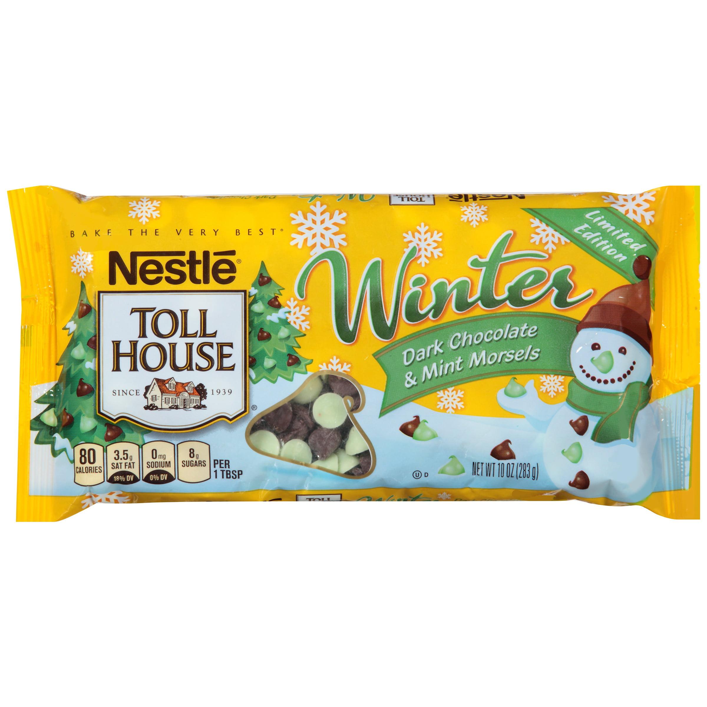 (4 Pack) NESTLE TOLL HOUSE Winter Dark Chocolate & Mint Morsels 10 oz. Bag