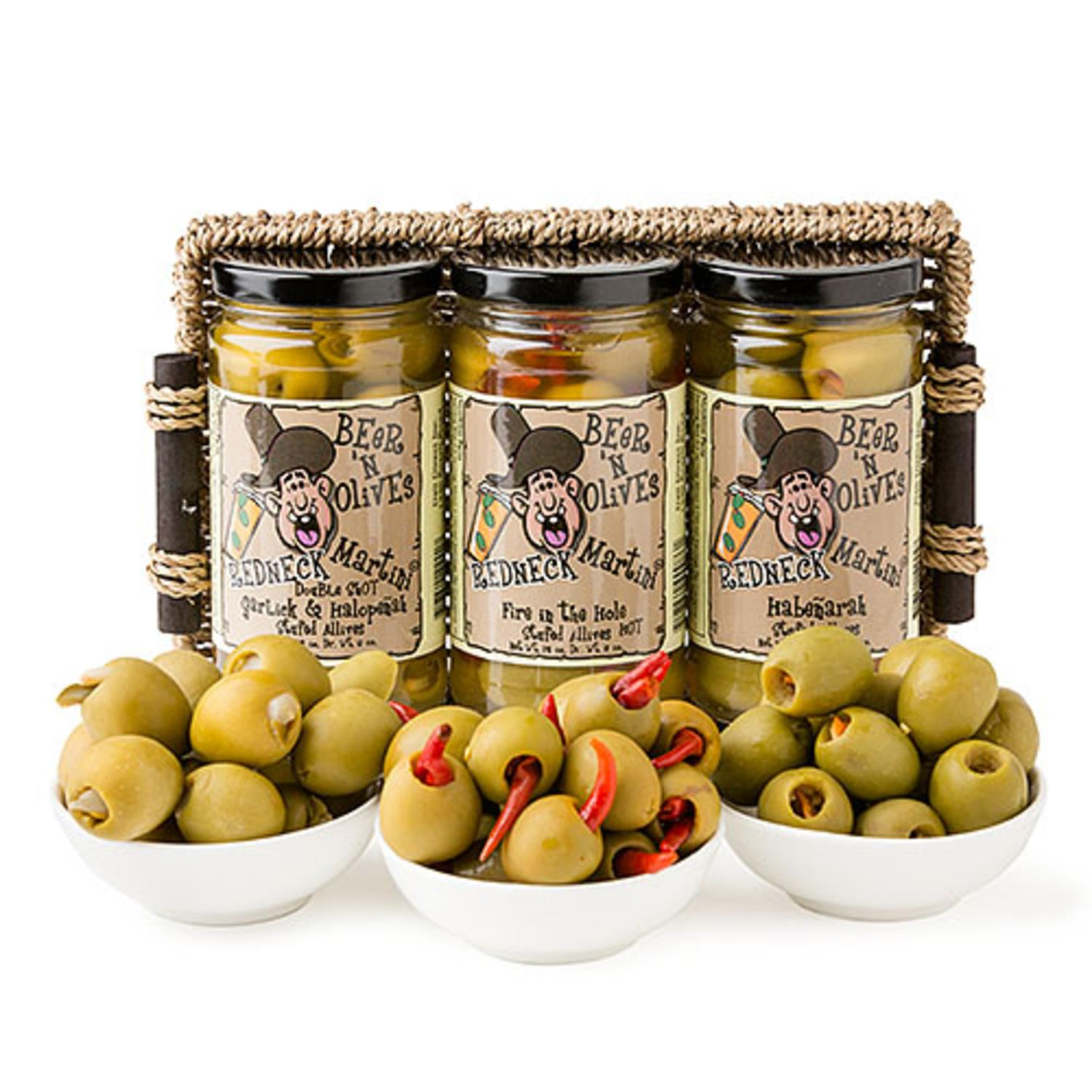 Holiday Party Gourmet Spicy Redneck Beer 'n Olives Martini Cocktail Olive Sampler Gift... by CC Home Furnishings