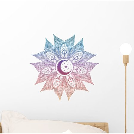 Ornate Moon Feathers Mandala Wall Decal Wallmonkeys Peel and Stick Graphics (12 in H x 12 in W) WM502927 ()