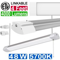 4 ft 48W LED Shop Light for Workbench, Basement, Garage 120W Equivalent Utility LED