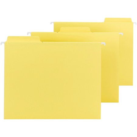 - Smead FasTab® Hanging File Folder, 1/3-Cut Built-In Tab, Letter Size, Yellow, 20 per Box (64097)