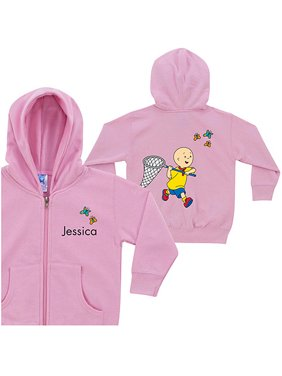Personalized Caillou Butterfly Fun Pink Toddler Girl Zip-Up Hoodie