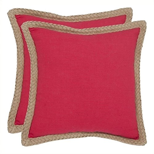 Safavieh Pillows Collection Sweet Sorona Decorative Pillow, 18-Inch, Red, Set of 2 by