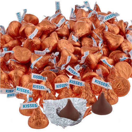 Kisses Milk Chocolate Candy Orange Foil, 4.1 lb Online Only by Hershey's Kisses