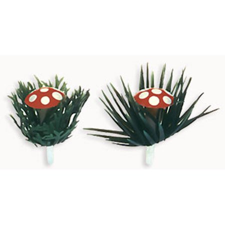 Mushroom w/ Holly Cake/Cupcake Decoration Picks 12 ct](Mushroom Decorations)