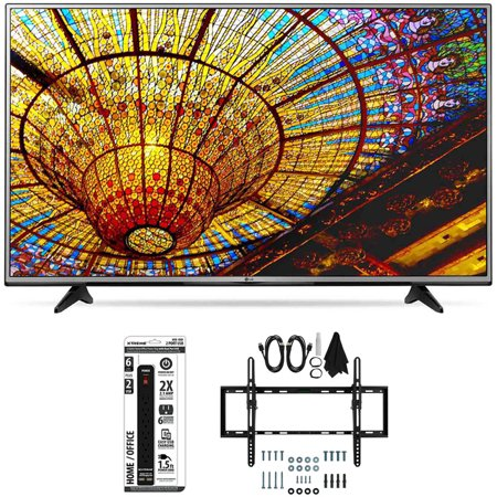 LG 49UH6030 – 49-Inch 4K UHD Smart LED TV w/ webOS 3.0 Tilt Wall Mount Bundle includes TV, Flat & Tilt Wall Mount Ultimate Kit and 6 Outlet Power Strip with Dual USB Ports