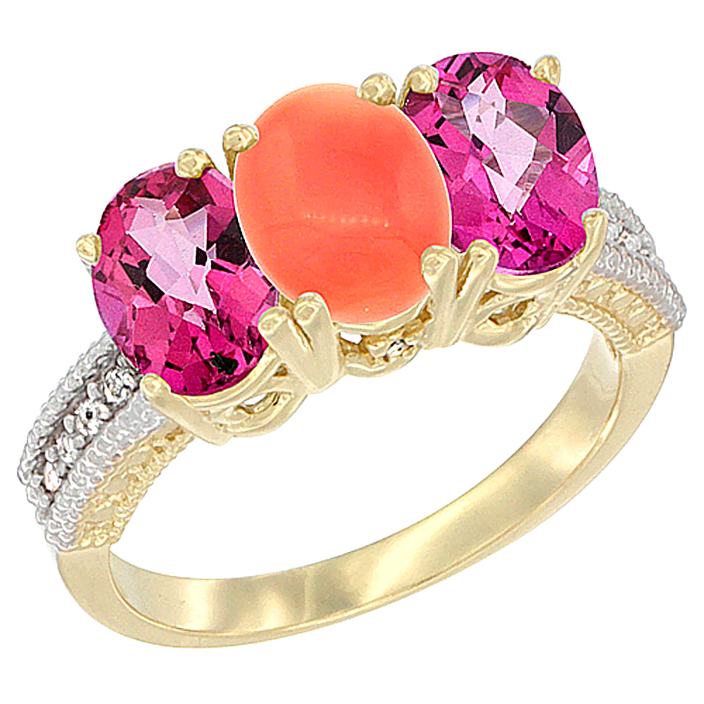 14K Yellow Gold Natural Coral & Pink Topaz Ring 3-Stone 7x5 mm Oval Diamond Accent, sizes 5 10 by WorldJewels