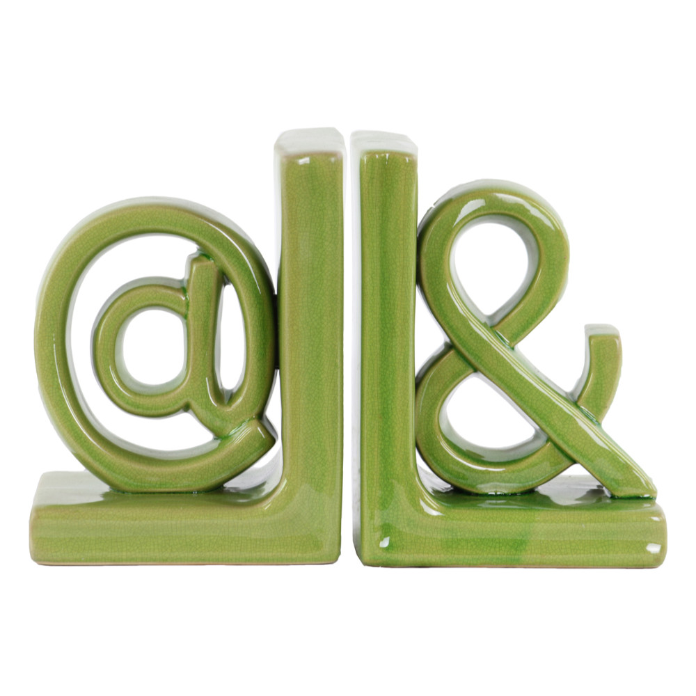 "Author's ""@&"" Alphabet Sculpture Bookend Assortment of 2 Green Benzara by Benzara"