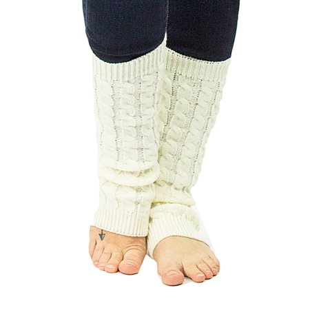 Exotic Identity Leg Warmers Cable Knit Vail Cold Weather Wear for Women - M - Cream Knit Stretchy Leg Warmers