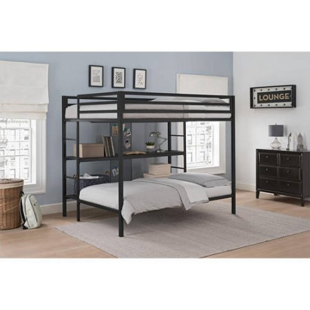 DHP Ultimate Full-Over-Twin Bunk Bed with Storage, Black with 2 Spa Sensations 6'' Memory Foam Mattresses