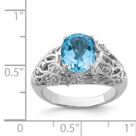 925 Sterling Silver Rhodium Light Swiss Blue Topaz and Diamond Ring - image 1 de 2