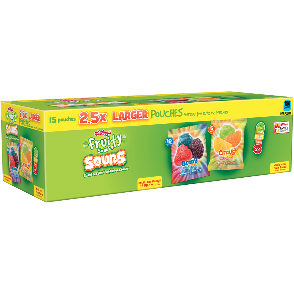 Kellogg's Sours Berry   Citrus Fruity Snack,s 15 2 oz. Box by Citrus