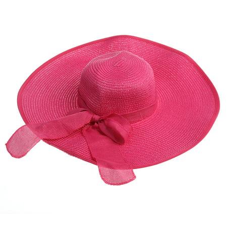 42c7d0d9f Women's Wide Larege Brim Caps Summer Floppy Beach Straw Hats Bowknot Caps  (Rosy)