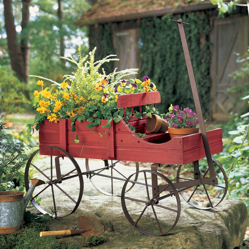 Amish Wagon Decorative Indoor / Outdoor Garden Backyard Planter, Red    Walmart.com