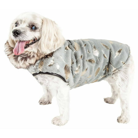 Pet Life ® Luxe 'Gold-Wagger' Gold-Leaf Designer Fur Dog Jacket (Dog Jacket Coat Fur)