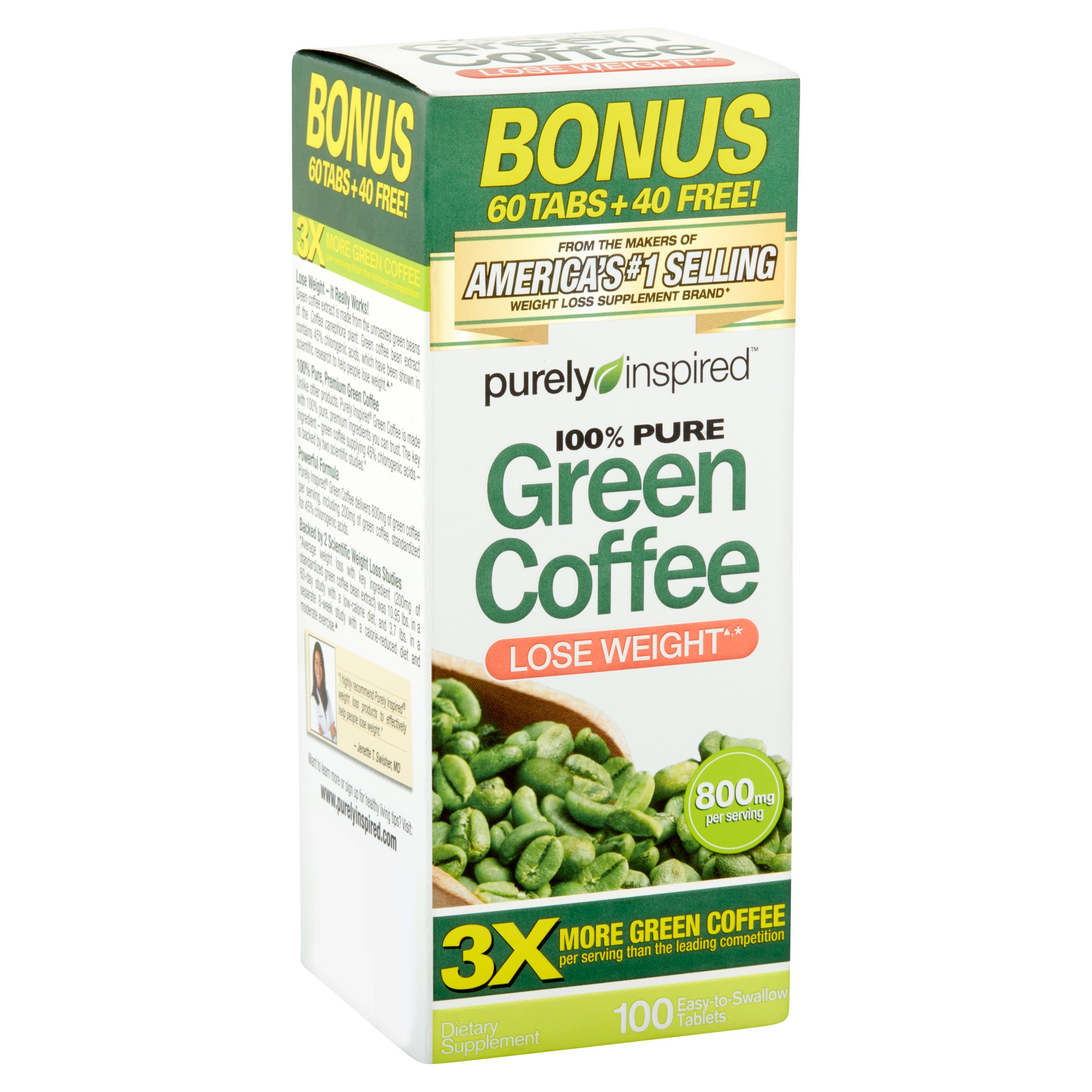 Purely Inspired 100% Pure Green Coffee Dietary Supplement for Weight Loss, 100 count