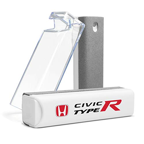 Honda Red Logo Civic Type-R All-in-One Gray Microfiber Wipe Screen Cleaner for Car Navigation Screen, Touch Pads, Cell Phone Plus Cell Phone Stand