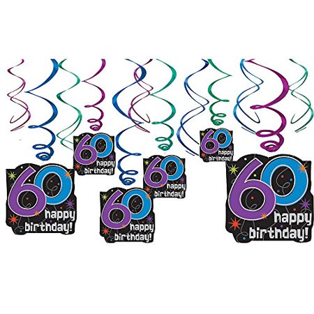 60th Birthday Color Scheme (Amscan BB103390 The Party Continues 60Th Birthday Swirl Decorations - 12)