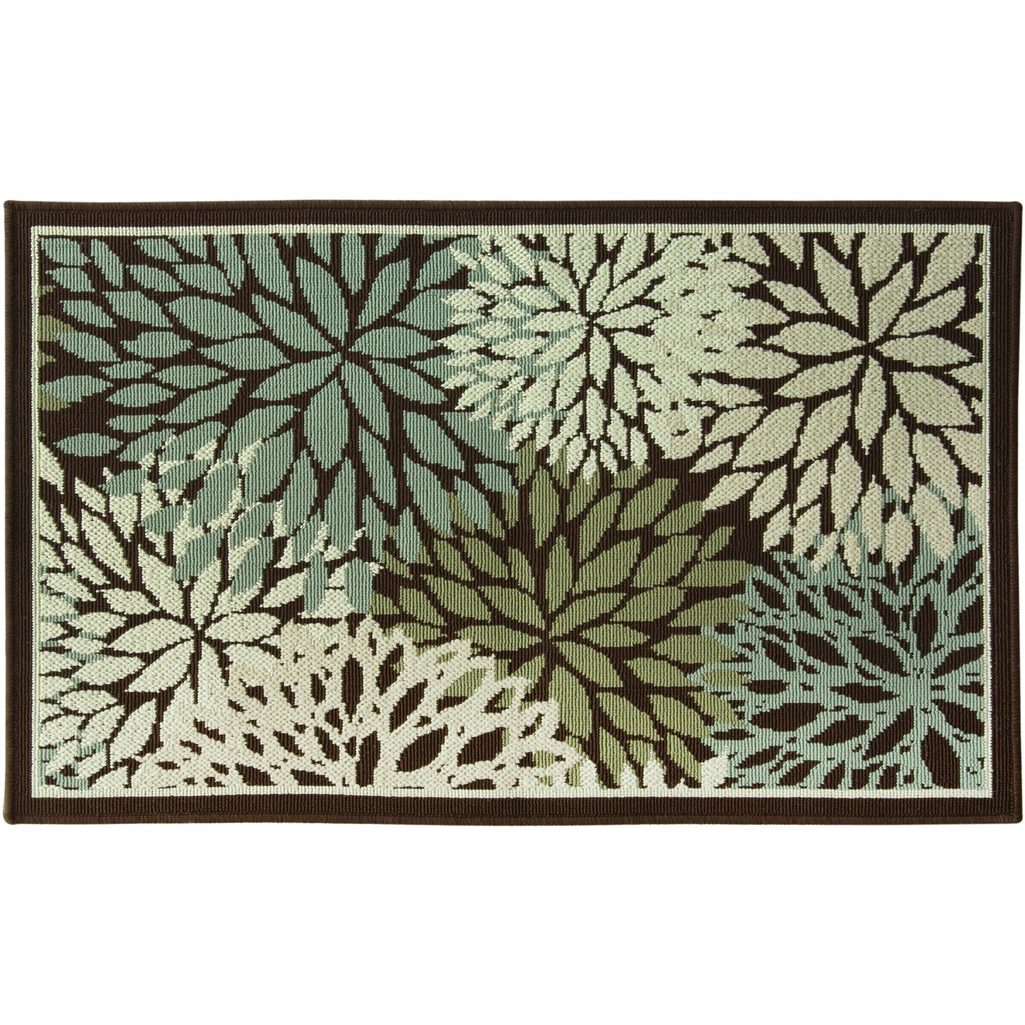 Better Homes and Gardens Mixed Floral Rug, Dark Brown by Bacova