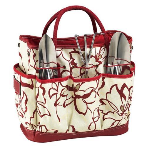 Picnic Ascot 341-PR Floral Gardening Tote Set - Red Floral