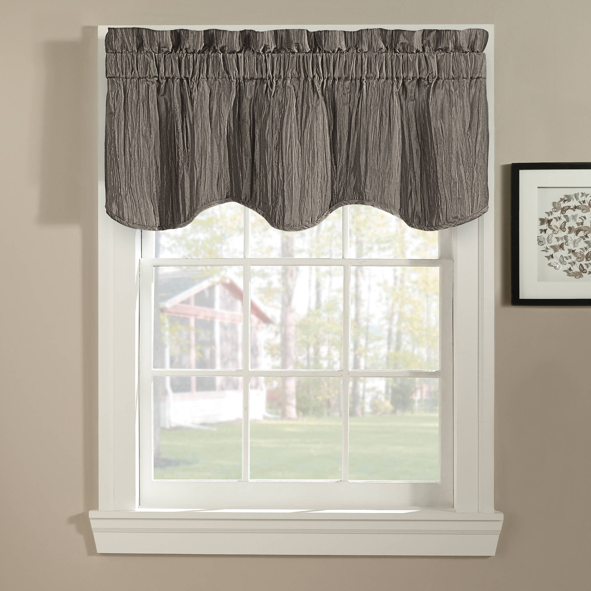 leah window valance yellow/grey - walmart