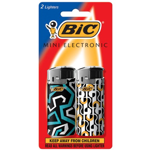 Bic Black & White Mini Electronic Lighters, 2 count