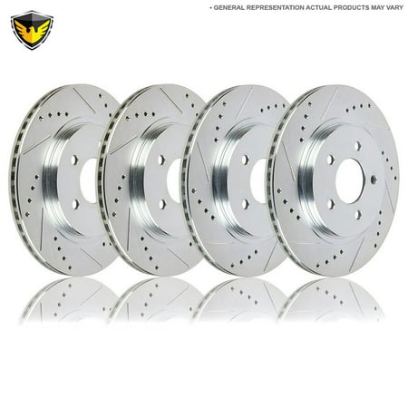 Drilled Slotted Front Rear Brake Rotors For Ford F150 4WD 1999