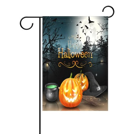 POPCreation Happy Halloween Decorations in Spooky Forest Garden Flag Full Moon Pumpkin Night Bats Outdoor Flag Home Party 28x40 inches - Quick Easy Outdoor Halloween Decorations
