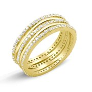 Goldplated Sterling Silver Micropave Cubic Zirconia 3-row Ring Size 7