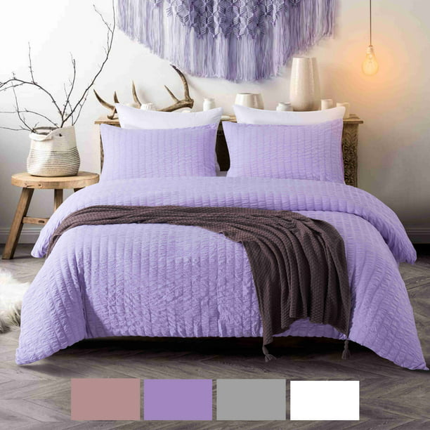 NC Home Fashions 2-Pieces Seersucker Duvet Cover Set, Twin- for Comforter/Quilt/Blanket, with Zipper & Corner Ties-Luxurious, breatable and Ultra soft (Twin, Violet)