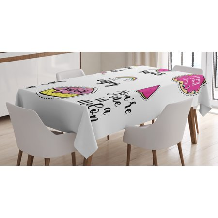 Good Vibes Tablecloth, Happy Sweetest Day Enjoy and Love Ice Cream Cake Donut Lips Watermelon Candies, Rectangular Table Cover for Dining Room Kitchen, 52 X 70 Inches, Multicolor, by Ambesonne (Ice Cream Case Cover)