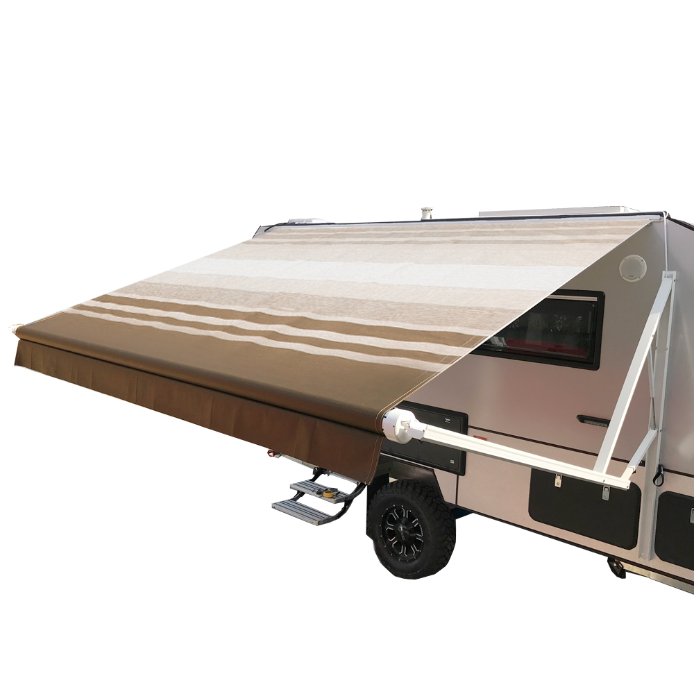 ALEKO Motorized Retractable RV/Patio Awning - 16 x 8 Feet - Brown Striped
