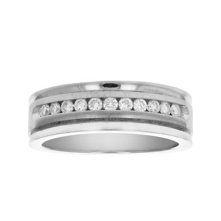 Certified 1/4 cttw SI2-I1 14K Gold Machine Set Diamond Wedding Band in Size 7 (14k White Gold Machine)