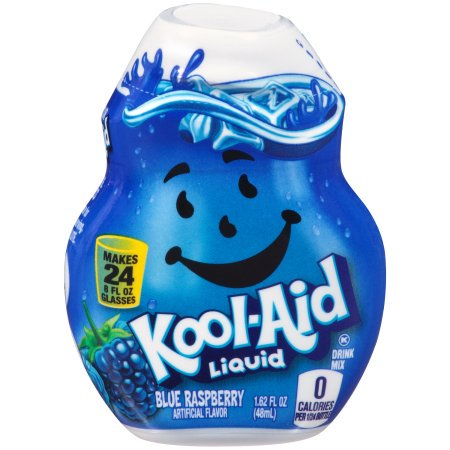 (12 Pack) Kool-Aid Blue Raspberry Liquid Drink Mix, 1.62 fl oz Bottle - Cool Aid Man