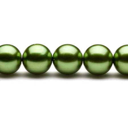 16mm Round Metallic-Tone Sour Green Glass Pearls 16Inch Sting 26-Bead Count