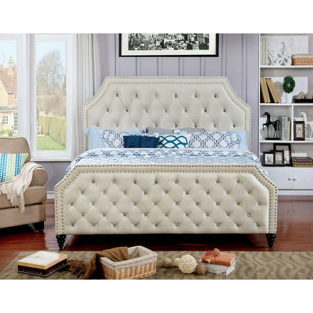 Crystal Like - Classic Contemporary Beautiful Gorgeous Queen Size Bed Beige Fabric Nailhead Trim Crystal Like Acrylic Button Tufted HB FB Bedroom Furniture