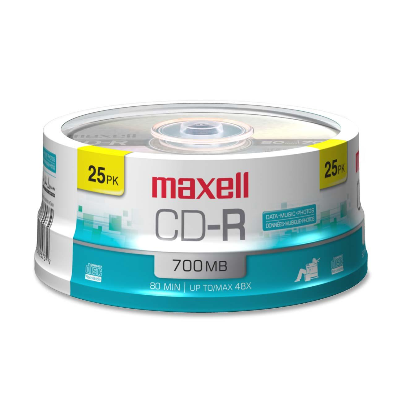 Maxell, MAX648445, Branded Surface CD-R Discs Spindle, 25