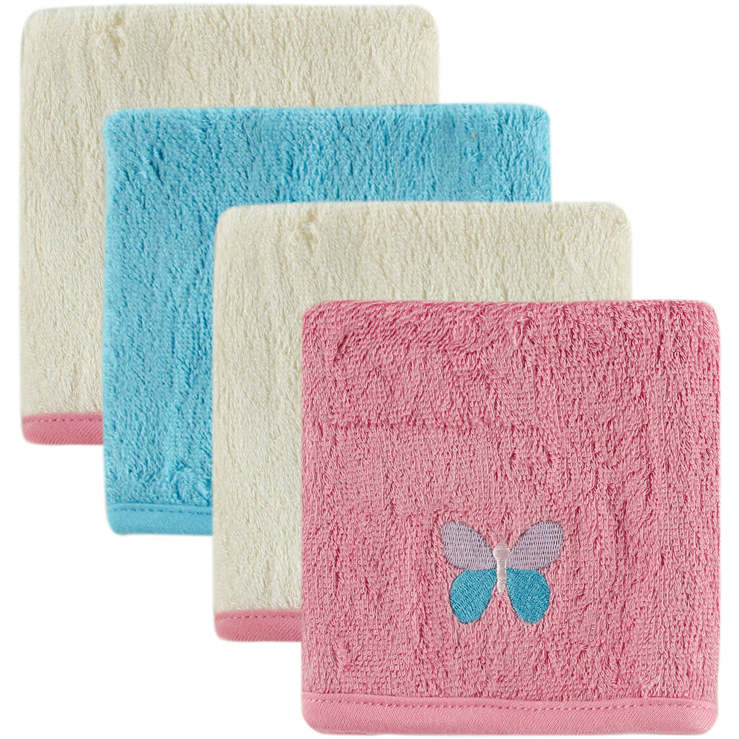 Hudson Baby Bamboo Embroidered Washcloth, 4pk, Girl, Choose Your Color
