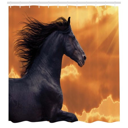 Horses Shower Curtain Portrait Of Galloping Friesian Horse With Hot